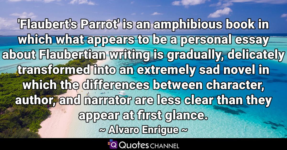 'Flaubert's Parrot' is an amphibious book in which what appears to be a personal essay about Flaubertian writing is gradually, delicately transformed into an extremely sad novel in which the differences between character, author, and narrator are less clear than they appear at first glance.