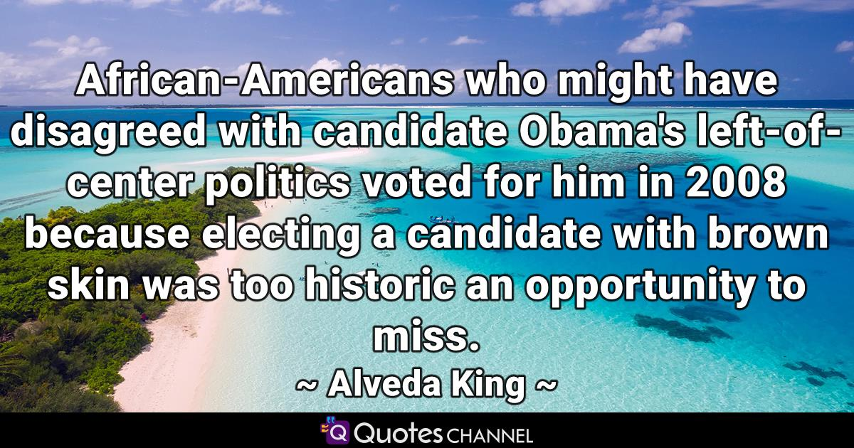 African-Americans who might have disagreed with candidate Obama's left-of-center politics voted for him in 2008 because electing a candidate with brown skin was too historic an opportunity to miss.