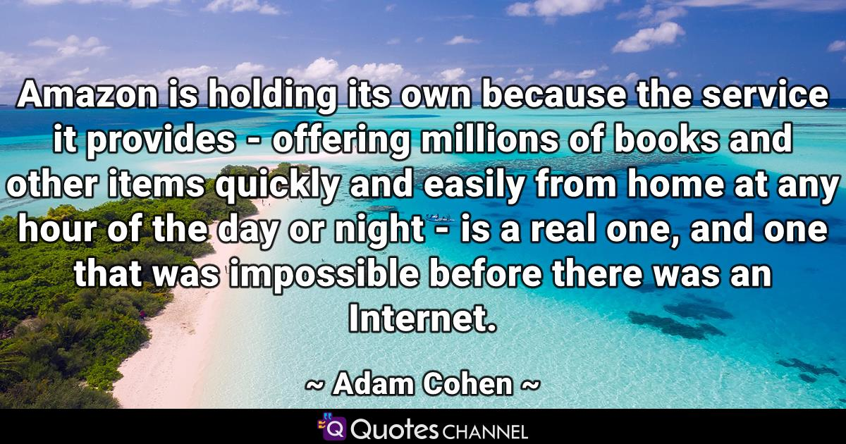 Amazon is holding its own because the service it provides - offering millions of books and other items quickly and easily from home at any hour of the day or night - is a real one, and one that was impossible before there was an Internet.