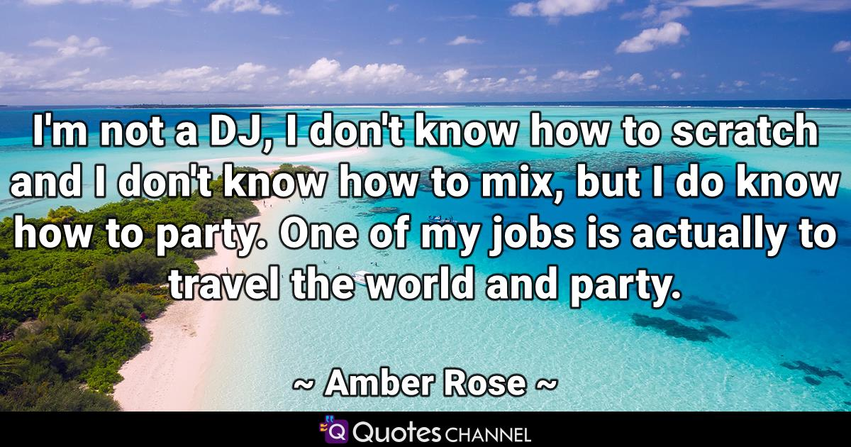 I'm not a DJ, I don't know how to scratch and I don't know how to mix, but I do know how to party. One of my jobs is actually to travel the world and party.