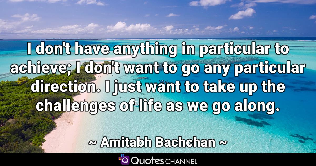 I don't have anything in particular to achieve; I don't want to go any particular direction. I just want to take up the challenges of life as we go along.