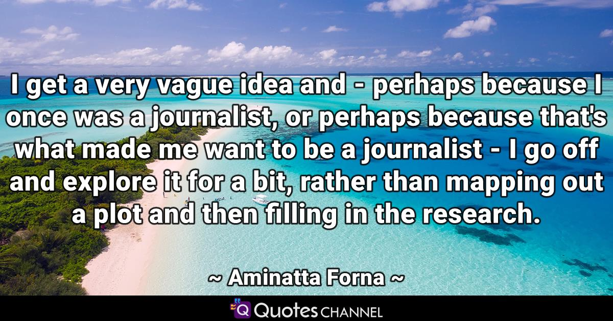 I get a very vague idea and - perhaps because I once was a journalist, or perhaps because that's what made me want to be a journalist - I go off and explore it for a bit, rather than mapping out a plot and then filling in the research.