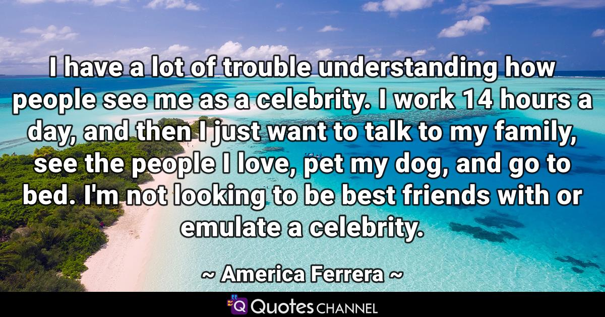 I have a lot of trouble understanding how people see me as a celebrity. I work 14 hours a day, and then I just want to talk to my family, see the people I love, pet my dog, and go to bed. I'm not looking to be best friends with or emulate a celebrity.