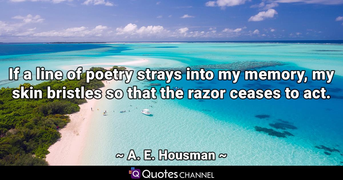 If a line of poetry strays into my memory, my skin bristles so that the razor ceases to act.