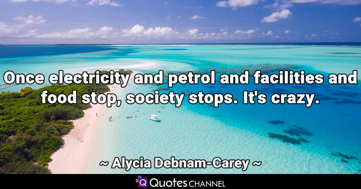 Once electricity and petrol and facilities and food stop, society stops. It's crazy.