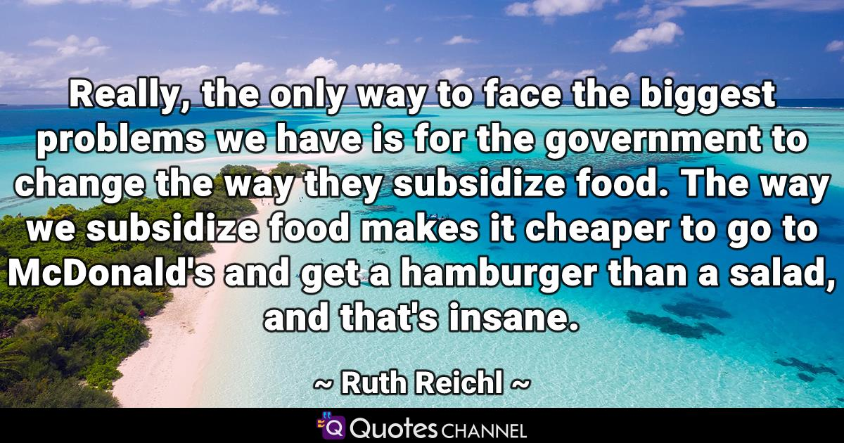 Really, the only way to face the biggest problems we have is for the government to change the way they subsidize food. The way we subsidize food makes it cheaper to go to McDonald's and get a hamburger than a salad, and that's insane.